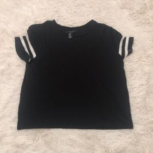 black and white slightly cropped t-shirt